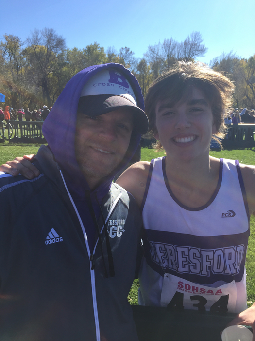 State XC Champ Alec Atwood and Head Coach Matt Coy