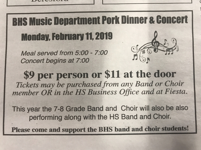 Music Dept Pork Dinner & Concert